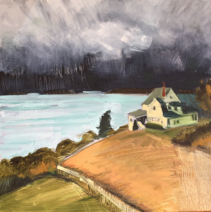 RAY_Black storm, yellow house_2017_oil_30x30 S