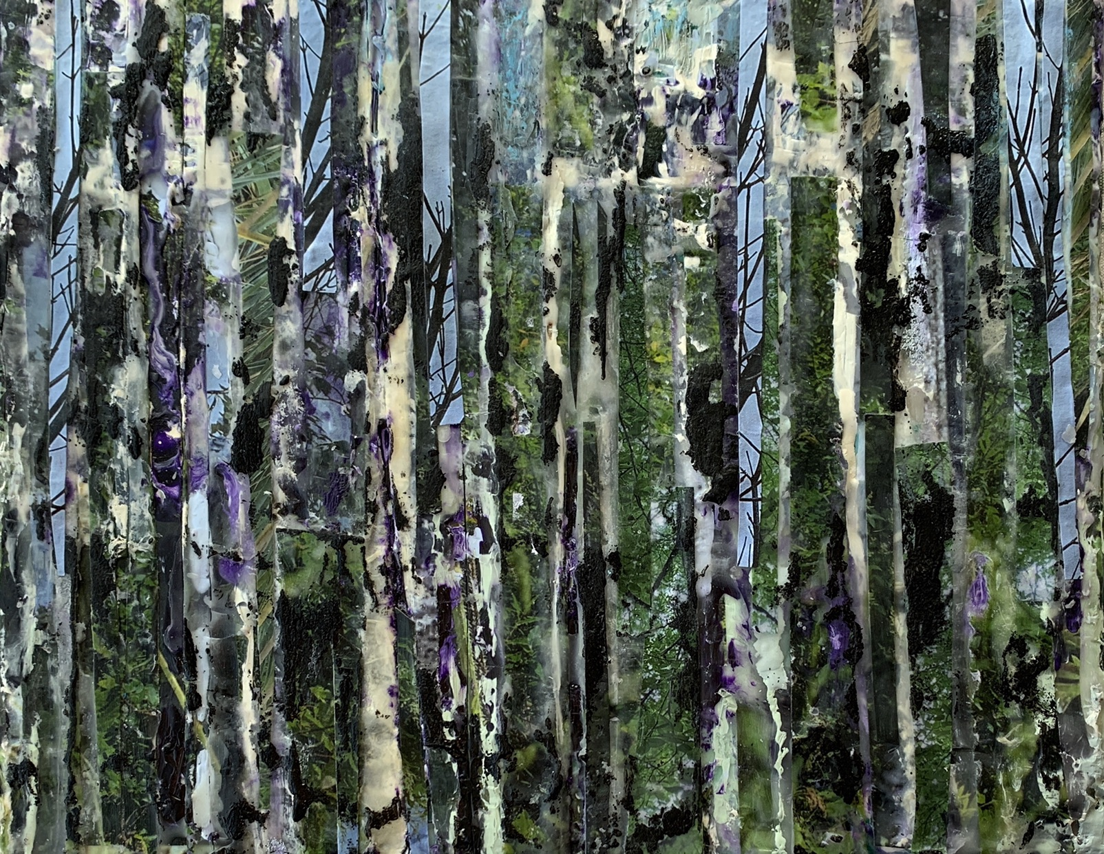 Williams_Birch Bliss_10 inches x 8 inches Encaustic with Mixed Media