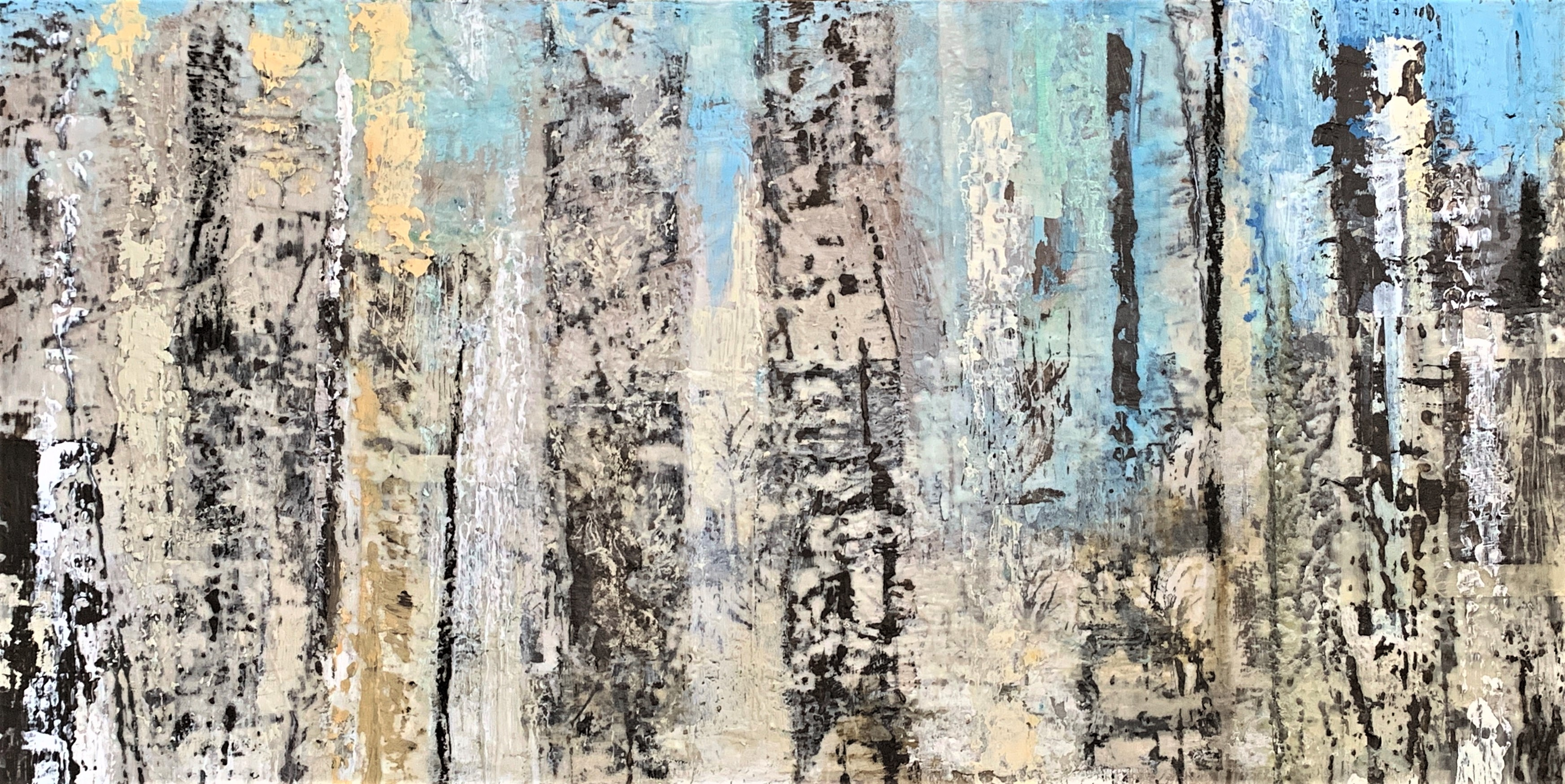 Williams_Birches 48 inches by 24 inches Encaustic with Mixed Media