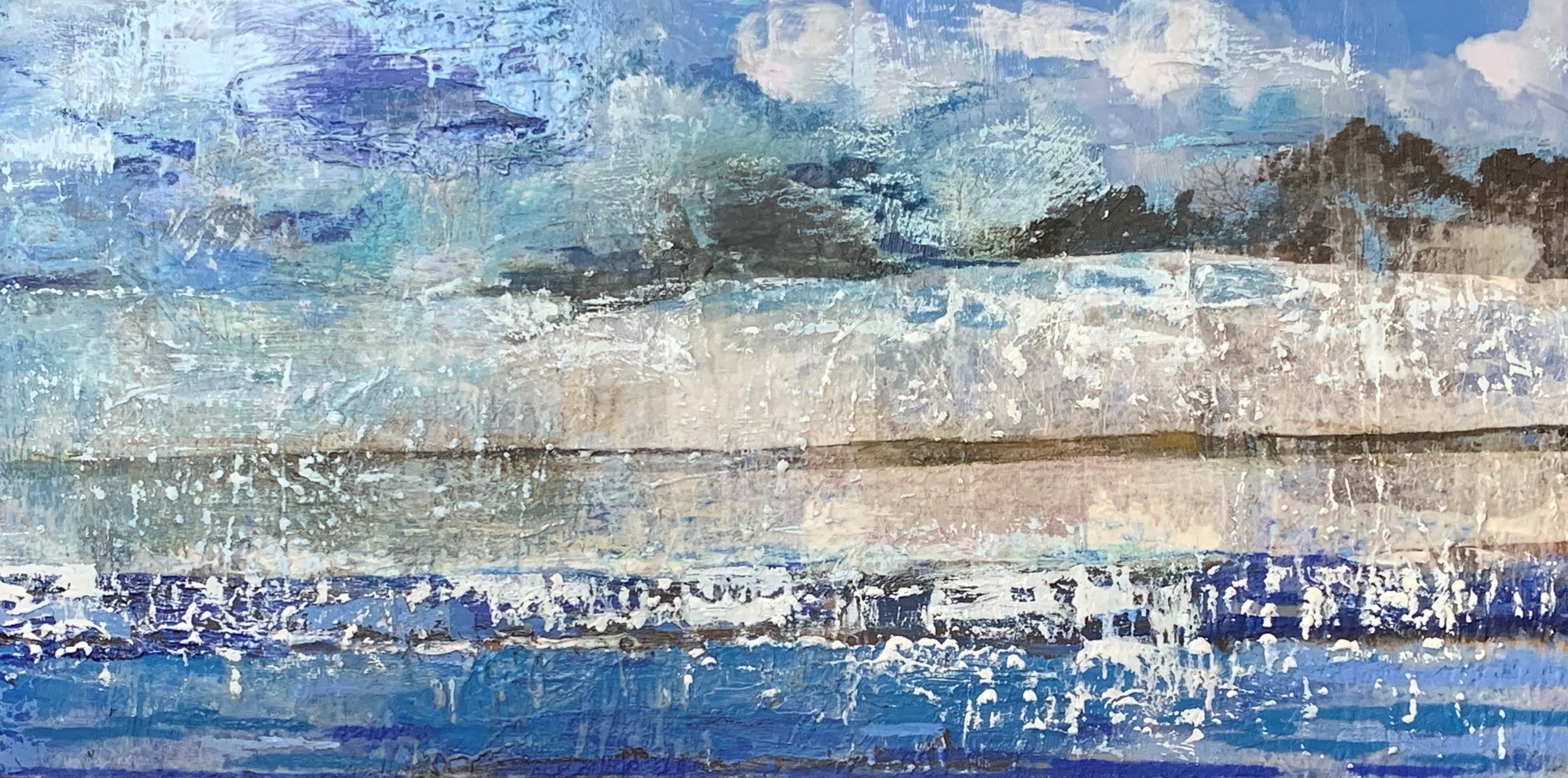 Williams_Harbor Island 48 inches by 24 inches Encaustic with Mixed Media