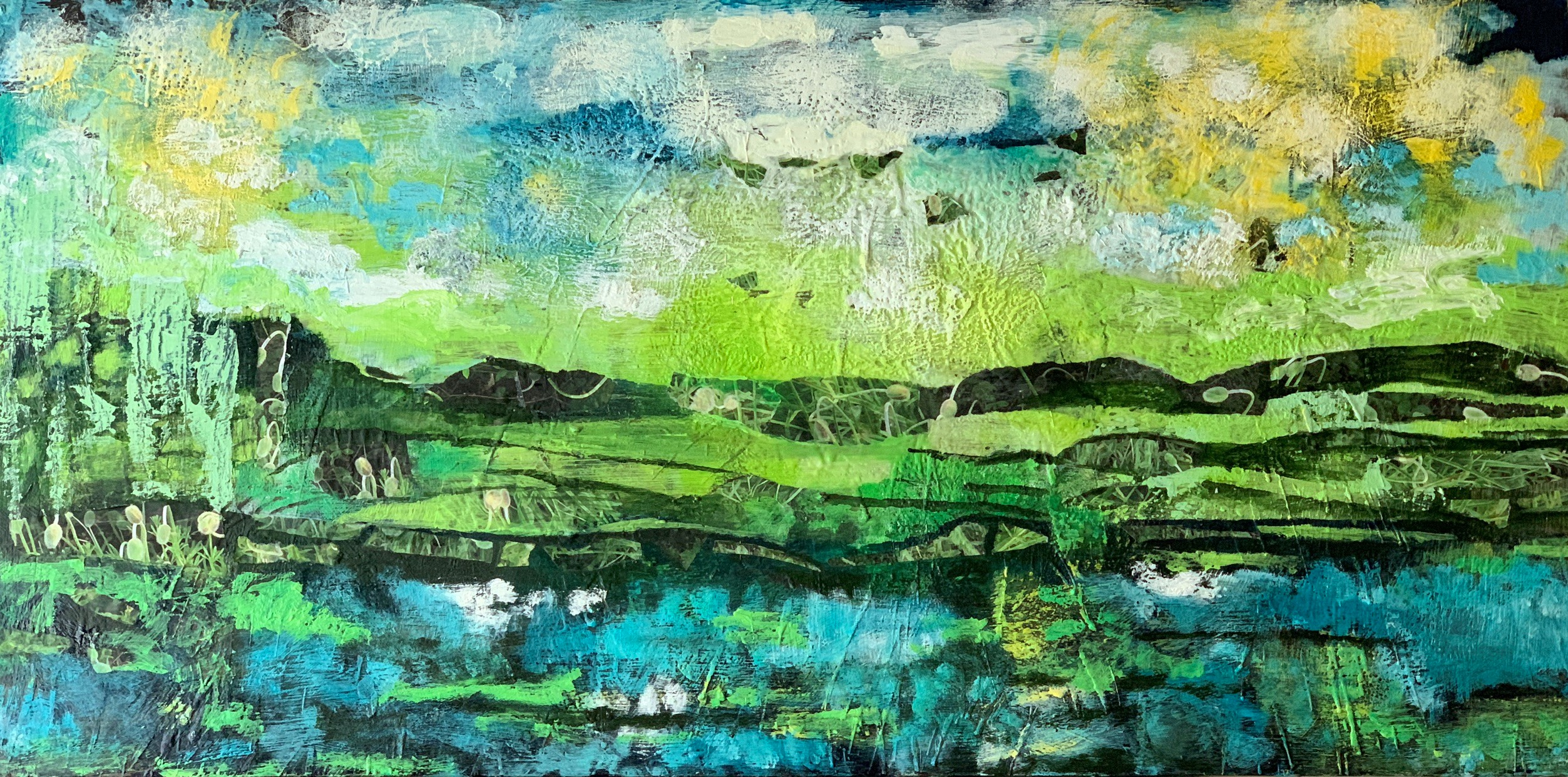Williams_Harbor Island II_48 inches x 24 inches_Encaustic with Mixed Media