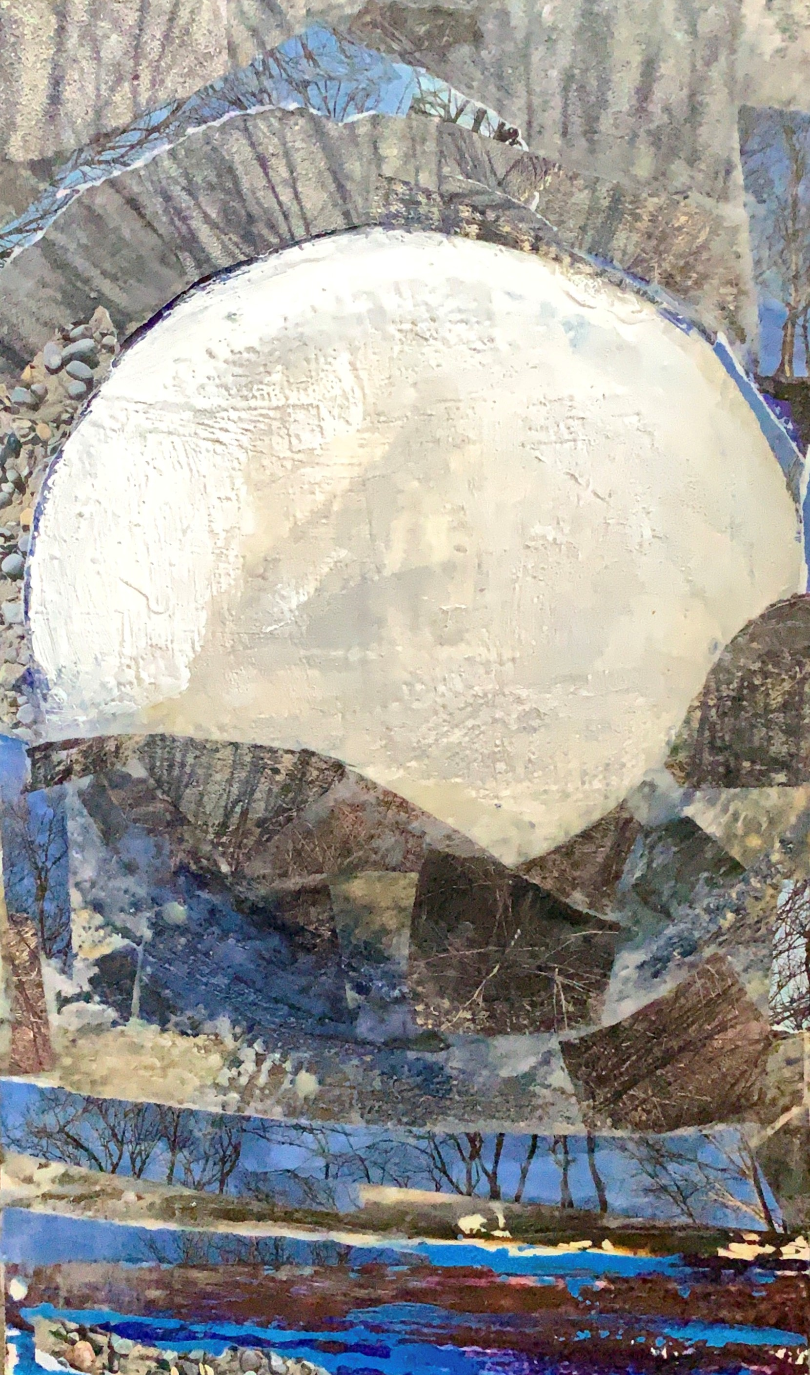 Williams_Super Moon 12 inches by 24 inches Encaustic with Mixed Media
